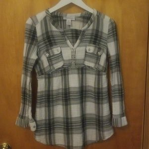 Motherhood Maternity plaid tunic